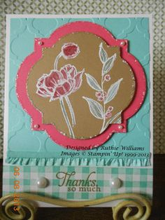 Card for my June class.  Simply Sketched Hostess set....White Wash technique, NEW In Colors from Stampin' Up!