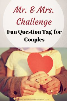Fun questions for couples to answer. The Mr. & Mrs. Challenge is great to play with your significant other, at a bridal shower, YouTube,& more