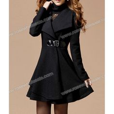 Wholesale Solid Color Noble Style Worsted Turn-Down Collar Long Sleeves Coat For Women (BLACK,XL), Jackets & Coats - Rosewholesale.com