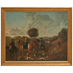 Early 19th Century German School Hunting  Scene | From a unique collection of antique and modern paintings at http://www.1stdibs.com/furniture/wall-decorations/paintings/
