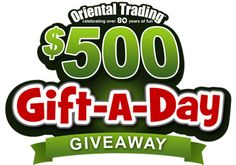 Enter our $500 Gift A Day Giveaway, and you will automatically be eligible to win $500 in Oriental Trading products. You can enter once per e-mail address per day.