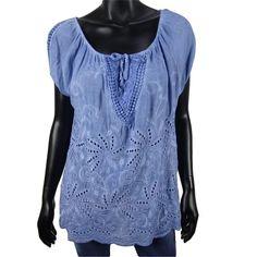 Ibiza stijl top met gaatjes in blauw  15-  Shop ook online: www.dannyschoice.nl  #Beverwijk #fashion
