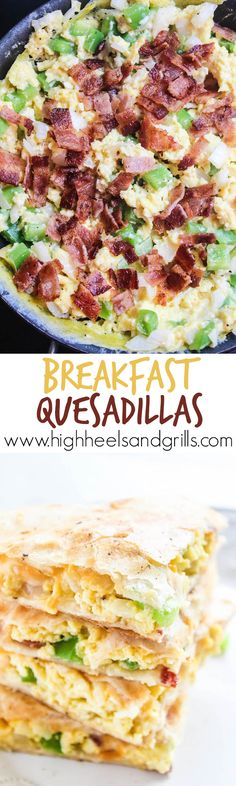 Breakfast Quesadillas - Egg, bacon, peppers, onion, and cheese smothered between two crisp tortillas. Makes for an amazing and quick breakfast! http://www.highheelsandgrills.com/breakfast-quesadillas/