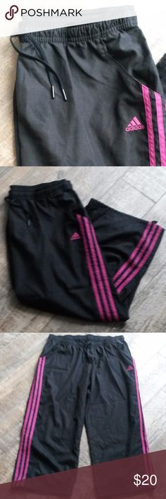 """Adidas Charcoal Grey & Pink Striped Workout Capri Charcoal grey pant with elastic waist and adjustable tie closure at the leg hem. 2 pockets. 100% polyester, machine wash.  inseam: 23.5"""" flat waist: 16"""" adidas Pants Capris"""