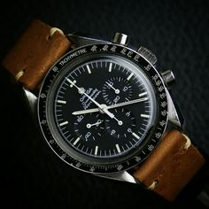 BandRBands Oak Classic Vintage Watch Band on Omega Speedmaster http://www.bandrbands.com/20mm-classic-vintage-watch-strap-oak-leather.aspx