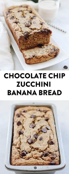 A healthy summer treat with a serving of zucchini mixed into this sweet and delicious Chocolate Chip Zucchini Banana Bread! Made with oat flour, sweetened with banana, maple syrup and a healthy dose of chocolate. #glutenfree #vegan #zucchinibread #bananabread