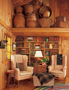 Great room for rustic western log cabin or mountain lodge by the lake ... Possibly tie in some vintage decor