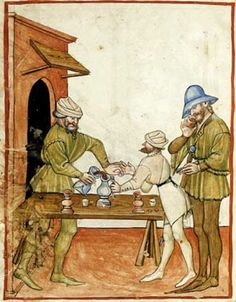 Tacuinum Sanitatis, Il mercante di vino, XIV sec., Giovannino de' Grassi