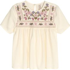 Embroidered Cotton Blouse $29.99 ($30) ❤ liked on Polyvore featuring tops, blouses, short sleeve cotton tops, short sleeve blouse, pink blouse, embroidery blouse and embroidery tops
