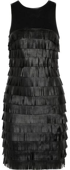 MICHAEL Michael Kors Faux leather-fringed jersey dress - Georgous!