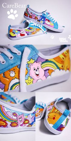 CareBear Shoes by Bobsmade DeviantArt Care Bear Birthday, Care Bear Party, Birthday Bash, Birthday Ideas, Care Bears, Top 80, All Star, Decorated Shoes, Toys