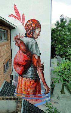 """The Displaced"" a new street art piece by Australian artist Fintan Magee"
