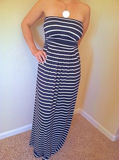 Perfect match of comfort and style! Blue and white stripped maxi dress perfect for summer :) $36
