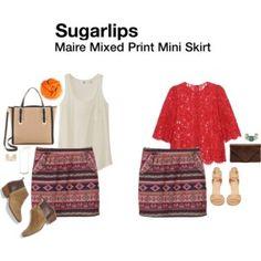 Sugarlips Marie Mixed Print Mini Skirt