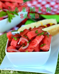 Balsamic Watermelon Salad - so light and refreshing its perfect all summer long! MomOnTimeout.com