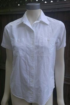 St Johns Bay Women's White Button Down Short Sleeve Shirt Sz S Career Casual Top…
