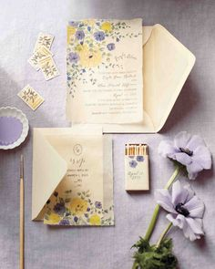 Let watercolor washes of pale purple and goldenrod color your big day. The poetic combo, whether on invitations or in your bouquet, calls to mind a stroll in a garden -- one so romantic that it would move Van Gogh or Monet to paint.