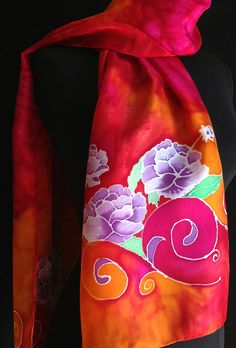 Vibrant and bright silk scarf with purple by FantasticPheasant, $35.00 Painted Silk, Hand Painted, Whatsoever Things Are Lovely, Silk Art, Batik Prints, Fabric Painting, Silk Scarves, Warm Colors, Purple Flowers