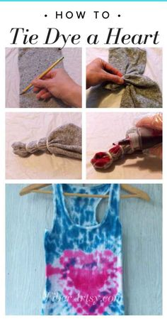 dyeing tutorials Heart Tie Dye Tutorial - Learn how to Tie Dye a Heart shape on a t shirt, pillow or other fabric. Perfect DIY Gift Idea for Valentine's Day. Tie Dye Tutorial, Shibori, Diy And Crafts, Crafts For Kids, Handmade Crafts, Unicorn Ornaments, How To Tie Dye, Martha Stewart Crafts, Valentines Diy