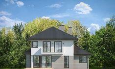 Проект современного двухэтажного коттеджа с гаражом на два автомобиля S8-273 (Кассиопея 7). Фасад 3. Shop-project Morden House, New Builds, Home Fashion, Exterior Design, Townhouse, Gazebo, House Plans, Shed, New Homes