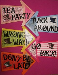 Alice in Wonderland Arrow Signs (set of 5 signs) - Don't Be Late, Go Back, Wrong Way, Turn Around, Tea Party - Mad Hatter Theme Birthday on Etsy, $25.00
