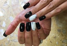 Day Black and White Marble Nail Art Black Marble Nails, Black White Nails, Black Acrylic Nails, Matte Black Nails, Marble Nail Art, Gray Nails, Silver Nails, Best Acrylic Nails, White Marble
