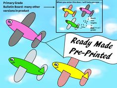 Several versions of this bulletin board included.Has all parts: color or B&W airplanes,different sky backgrounds,different borders,title lettering.Door decor:pudgy plane & banner for teacher's name & room number/grade level;onward & upward poster,Flight Manifest(class list),boarding sign, another pudgy plane carrying passengers.Official-looking plane tickets/boarding passes.Customize with each student's name for desk name cards or send with a mailed message to student homes before school…