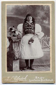 A Girl In The South East Moravian Folk Costume.   Photographer Julius Blažek in Kyjov (Moravia, Czechia). CDV circa 1900.