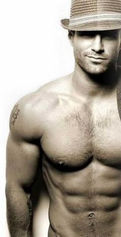 sexy men; hot men; male model; eye candy for women; romance novel art; photography; smile; hat; muscles; tattoo; lovers; the art of romance; hat; smile; the look of love; the men of pinterest