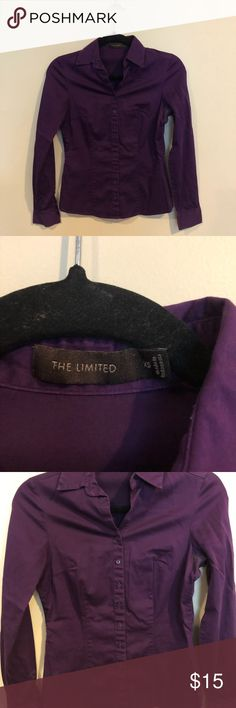 The Limited Purple Button Down Purple button down by The Limited  V-neckline  Long sleeves  Some discoloring at the arm pits  Material 97% Cotton 3% Spandex  Size XSmall The Limited Tops Button Down Shirts