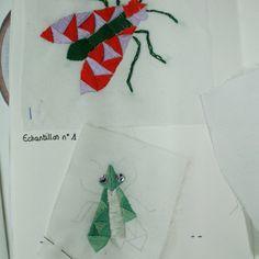 Echantillons d'insectes brodés