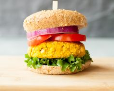 Roasted Sweet Potato and Chickpea Veggie Burger recipe (looks like a slider to me!)