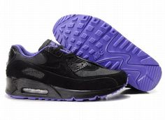 Ken Griffey Shoes Nike Air Max 90 Black Purple [Nike Air Max 90 - Nike Air Max 90 Black Purple sneakers feature attractive purple textile lining, Nike branding and rubber outsole with Waffle pattern. The lightweight and comfortable shoes are very hot Nike Air Max Noir, Nike Air Max 90s, Nike Air Force Max, Cheap Nike Air Max, Mens Nike Air, Nike Air Vapormax, Nike Tn, Purple Trainers, Purple Sneakers