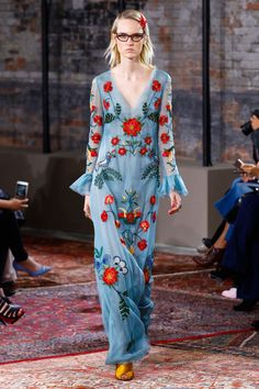 """Gucci 2016 Resort Collection. Am torn between putting this on """"textile, surface, pattern"""" or """"pins & needles"""" board... some great embroidery in this collection!"""