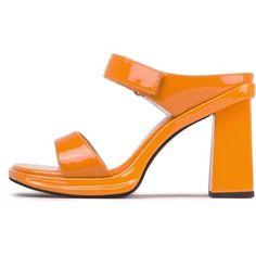 WATTZ ❤ liked on Polyvore featuring shoes, sandals, chunky heel platform shoes, platform slide sandals, high heel slide sandals, high heels sandals and platform sandals #platformsandals