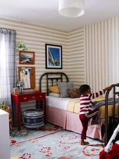 Gaffer Tape and Repurposed Furniture Made This Kid's Room Extra-Special Small Furniture, Repurposed Furniture, Furniture Making, Design A Space, Kids Room Design, Striped Walls, Beige Walls, Gaffer Tape, Brass Bed