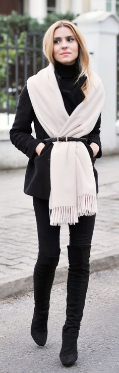 Fashion trends | Belted off white scarf and coat with over the knee boots