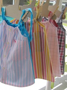 Dresses size 1-2 made for ICB in  Ft. Lauderdale Daddy's Button Shirt $22 First two (turquoise/pink and orange/yellow/pink) sold 4/23/16 Child's dress made from man's shirts