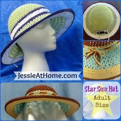 Star Sun Hat Crochet Pattern Intermediate Skill Level Designed by Jessie Rayot  This sensational sun hat features a star on top to help keep the sun off the most vulnerable part of your head, and a mesh side to keep you cool. The wide brim provides shade to protect your face, and to keep you … Read more...