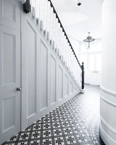 Wood Panel Hallway Hallway and Landing Design Ideas, Renovations & Photos Wood Panel Hallway Hallway and Landing Design Ideas, Renovations & Photos The post Wood Panel Hallway Hallway and Landing Design Ideas, Renovations & Photos appeared first on Home. Tiled Hallway, Home, Edwardian Hallway, Hallway Flooring, House Design, House Stairs, Victorian Hallway, Hallway Inspiration, Wood Paneling