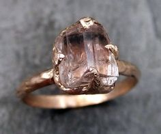 Raw Rough Champangne Pink Topaz 14k Rose gold Ring Gold Pink Gemstone Engagement Statement Ring Raw gemstone Jewelry byAngeline