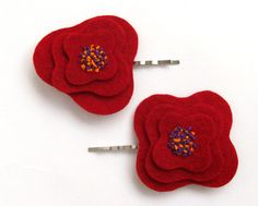 Embroidered Red Felt Poppy Hair Pin Bobby Pin Hair by adrisboltja