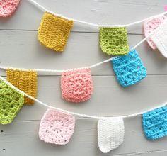 Crochet Bunting - Garland - Banner em Granny Praça Pastels NOVO