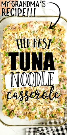 This tuna casserole is from scratch comfort food at it's best! Made with simple ingredients you'll have in your pantry, this is an old-fashioned classic. Tender egg noodles combine with peas, tuna, cream of mushroom soup, cheese, breadcrumbs, and seasoning to create a quick casserole that will quickly become a family favorite. Best Tuna Casserole, Tuna Casserole Recipes, Casserole Dishes, Tuna Noddle Casserole, Tuna Caserole, Chicken Noodle Casserole, Hamburger Casserole, Fish Recipes, Seafood Recipes
