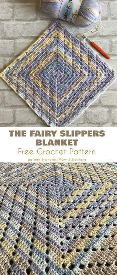 The Fairy Slippers Blanket Free Crochet Pattern #freecrochetpatterns #crochetblanket #crochetafghan #crochetbabyblanket