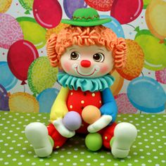 *COLD PORCELAIN ~ Bright Clown, Cake Topper