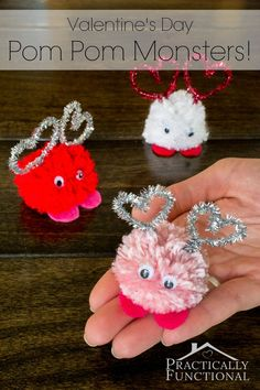 Make these adorable Valentine's Day pom pom monsters in just a few minutes! Great Valentine's Day craft for kids!