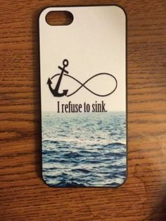 Nautical Anchor Refuse to Sink Hard Back Case Cover Shell For Apple iPhone 5/5S