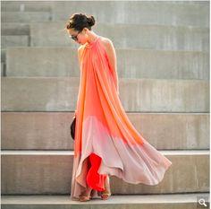 Sleeveless Contrast Maxi Dress