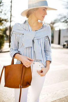 Classic Blue and White | spring style | spring fashion | warm weather fashion | styling for spring | fashion for spring | how to style a straw hat | preppy spring style | preppy fashion || a lonestar state of southern